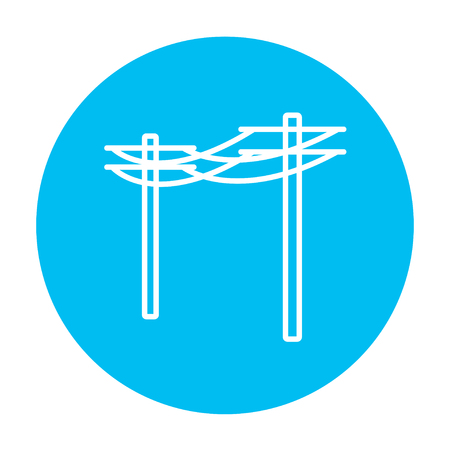 High voltage power lines line icon for web, mobile and infographics. Vector white icon on the light blue circle isolated on white background. Çizim