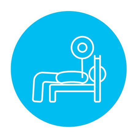 Man lying on bench and lifting barbell line icon for web, mobile and infographics. Vector white icon on the light blue circle isolated on white background. Illustration