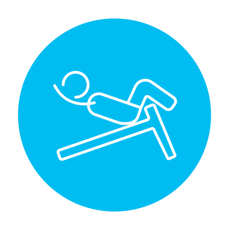 crunches: Man doing crunches on incline bench line icon for web, mobile and infographics. Vector white icon on the light blue circle isolated on white background.