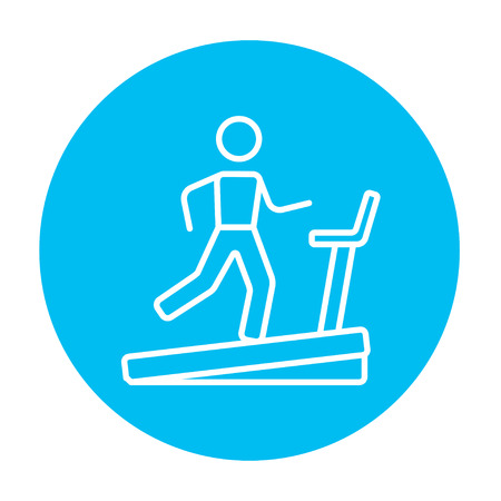 treadmill: Man running on a treadmill line icon for web, mobile and infographics. Vector white icon on the light blue circle isolated on white background.