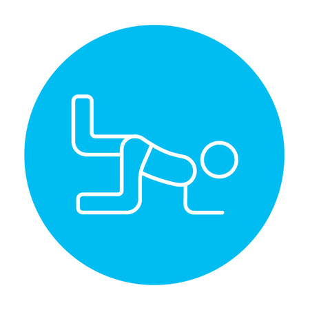 buttocks: Man exercising buttocks line icon for web, mobile and infographics. Vector white icon on the light blue circle isolated on white background.