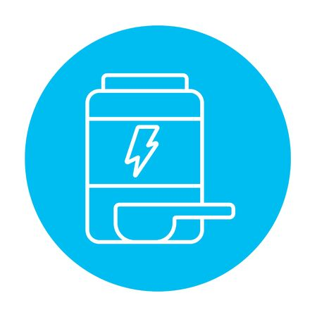 supplementation: Sport nutrition container line icon for web, mobile and infographics. Vector white icon on the light blue circle isolated on white background.
