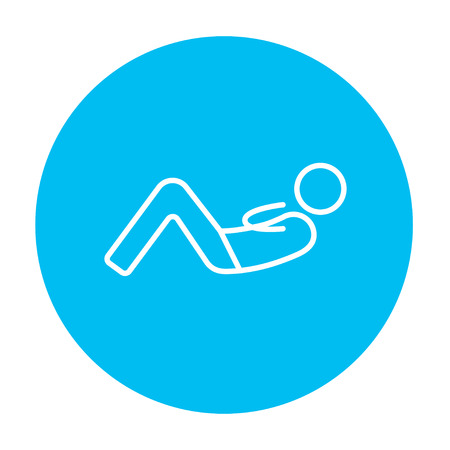 Man doing abdominal crunches line icon for web, mobile and infographics. Vector white icon on the light blue circle isolated on white background. Иллюстрация