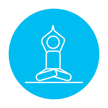 A man meditating in lotus pose line icon for web, mobile and infographics. Vector white icon on the light blue circle isolated on white background.