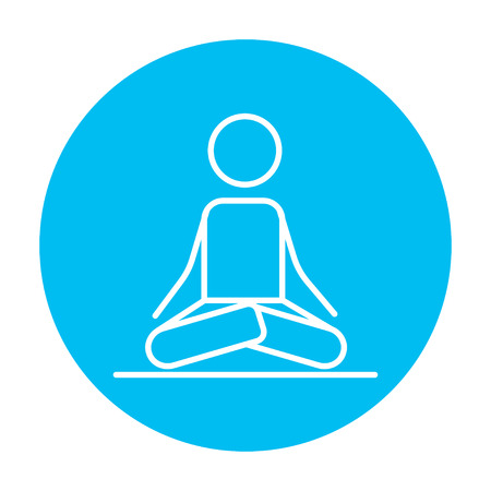 elasticity: A man meditating in lotus pose line icon for web, mobile and infographics. Vector white icon on the light blue circle isolated on white background.