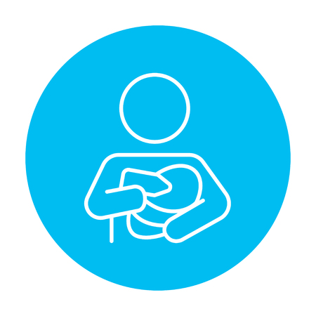 nursing bottle: Woman nursing the baby line icon for web, mobile and infographics. Vector white icon on the light blue circle isolated on white background.