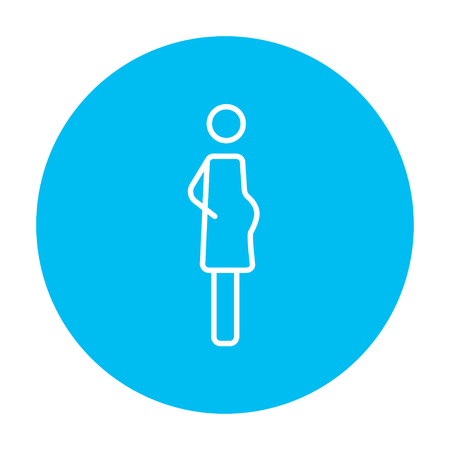 Pregnant woman line icon for web, mobile and infographics. Vector white icon on the light blue circle isolated on white background. Vectores
