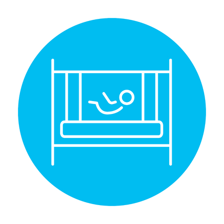 Baby laying in the crib line icon for web, mobile and infographics. Vector white icon on the light blue circle isolated on white background.