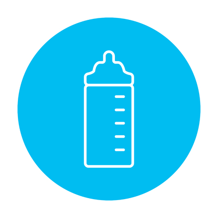 nursing bottle: Feeding bottle line icon for web, mobile and infographics. Vector white icon on the light blue circle isolated on white background.