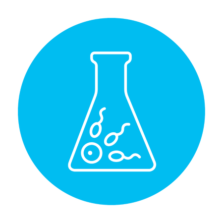 In vitro fertilisation line icon for web, mobile and infographics. Vector white icon on the light blue circle isolated on white background. Illustration