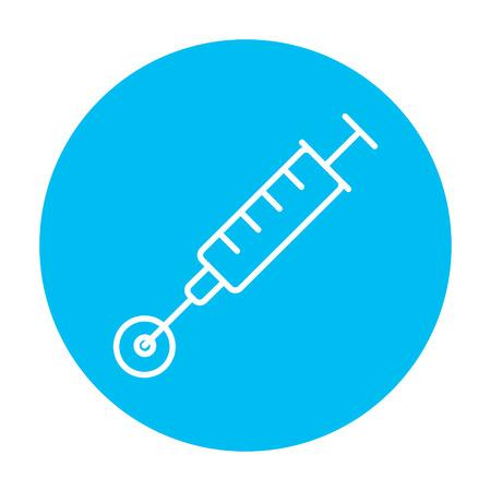 in vitro: In vitro icono de línea de la fertilización para web, móvil y la infografía. Vector icono de blanco en el círculo azul de luz aislados sobre fondo blanco. Vectores