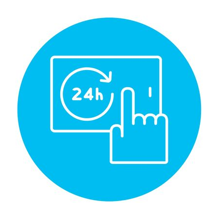 infographics touchscreen: Finger touching 24 hours service button on a touchscreen line icon for web, mobile and infographics. Vector white icon on the light blue circle isolated on white background. Illustration