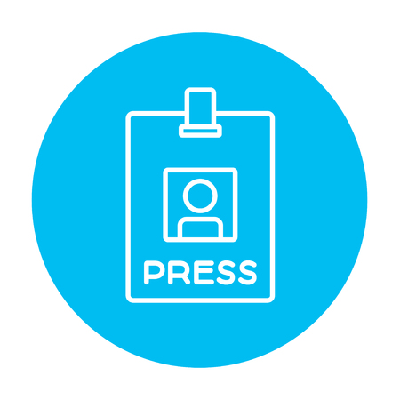 neckband: Press pass ID card line icon for web, mobile and infographics. Vector white icon on the light blue circle isolated on white background.