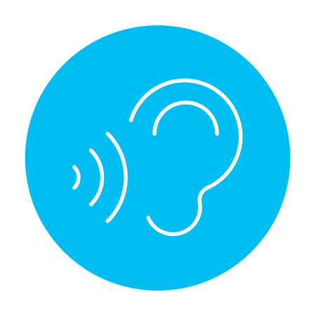 Ear and sound waves line icon for web, mobile and infographics. Vector white icon on the light blue circle isolated on white background. Illustration