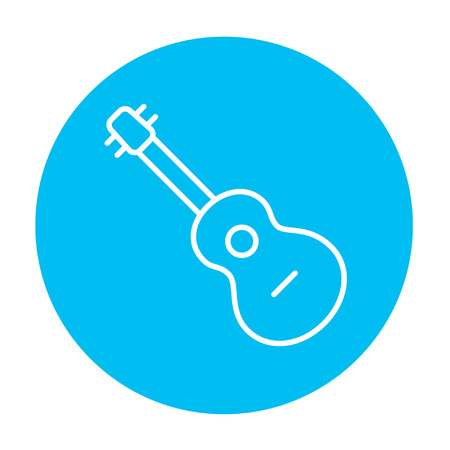 Guitar line icon for web, mobile and infographics. Vector white icon on the light blue circle isolated on white background.