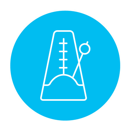 metronome: Metronome line icon for web, mobile and infographics. Vector white icon on the light blue circle isolated on white background.