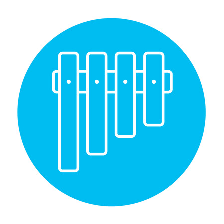 panpipes: Vibraphone line icon for web, mobile and infographics. Vector white icon on the light blue circle isolated on white background.