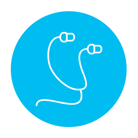 earpieces: Earphone line icon for web, mobile and infographics. Vector white icon on the light blue circle isolated on white background. Illustration
