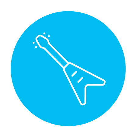 strum: Electric guitar line icon for web, mobile and infographics. Vector white icon on the light blue circle isolated on white background. Illustration