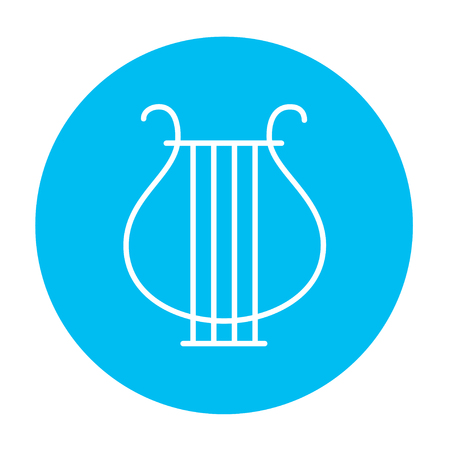 lyra: Lyre line icon for web, mobile and infographics. Vector white icon on the light blue circle isolated on white background. Illustration