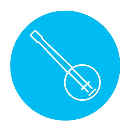 Web、モバイル、インフォ グラフィックのバンジョー ライン アイコン。白い背景に分離された光の青い円の上の白いベクトルのアイコン。