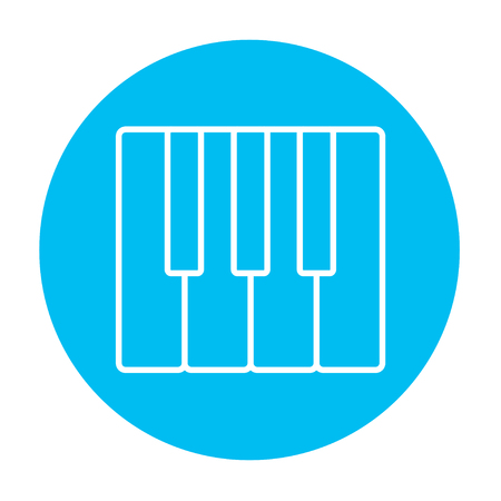 ivories: Piano keys line icon for web, mobile and infographics. Vector white icon on the light blue circle isolated on white background.