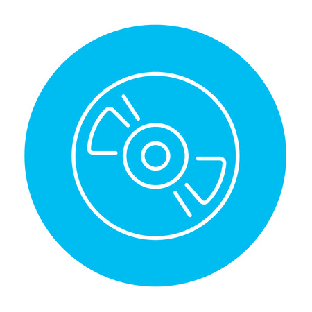 graphics design: Reel tape deck player recorder line icon for web, mobile and infographics. Vector white icon on the light blue circle isolated on white background.