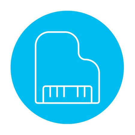 pianoforte: Piano line icon for web, mobile and infographics. Vector white icon on the light blue circle isolated on white background.