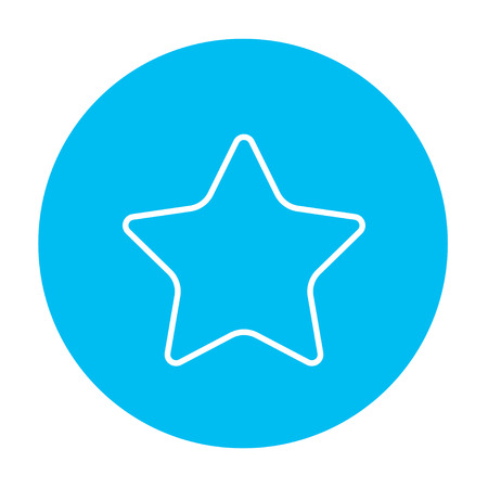 good judgment: Rating star line icon for web, mobile and infographics. Vector white icon on the light blue circle isolated on white background.