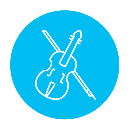 fiddlestick: Violin with bow line icon for web, mobile and infographics. Vector white icon on the light blue circle isolated on white background. Illustration