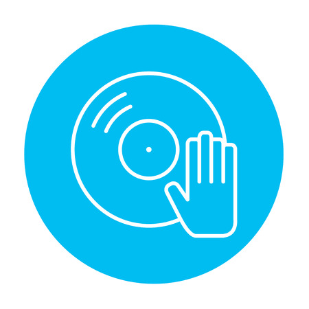 remix: Disc with dj hand line icon for web, mobile and infographics. Vector white icon on the light blue circle isolated on white background. Illustration
