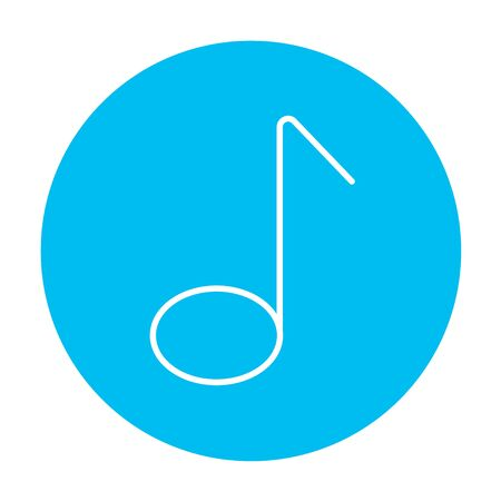 Music note line icon for web, mobile and infographics. Vector white icon on the light blue circle isolated on white background.