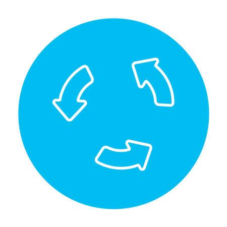 웹, 모바일 및 인포 그래픽을위한 재생 버튼 라인 아이콘. 흰색 배경에 고립 된 빛 파란색 원 안에 벡터 흰색 아이콘. 일러스트
