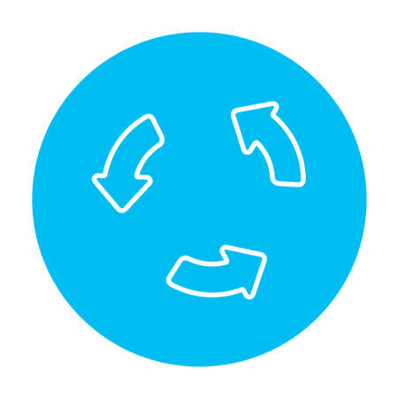 shuffle: Replay button line icon for web, mobile and infographics. Vector white icon on the light blue circle isolated on white background.