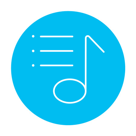 melodies: Musical note line icon for web, mobile and infographics. Vector white icon on the light blue circle isolated on white background.