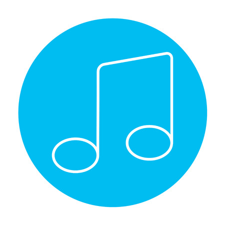 melodies: Music note line icon for web, mobile and infographics. Vector white icon on the light blue circle isolated on white background.