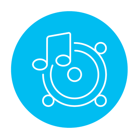 sub woofer: Loudspeakers with music note line icon for web, mobile and infographics. Vector white icon on the light blue circle isolated on white background.