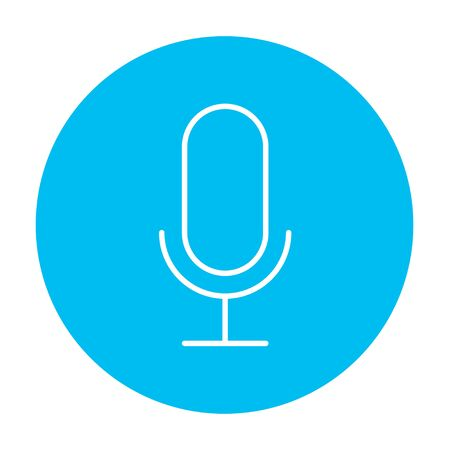 Retro microphone line icon for web, mobile and infographics. Vector white icon on the light blue circle isolated on white background. Illusztráció