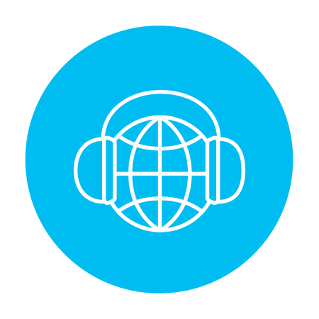 Globe in headphones line icon for web, mobile and infographics. Vector white icon on the light blue circle isolated on white background.