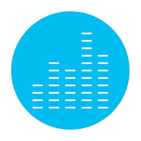 analyzer: Digital equalizer line icon for web, mobile and infographics. Vector white icon on the light blue circle isolated on white background.
