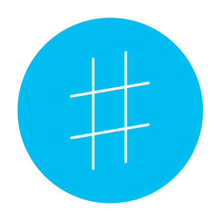 microblogging: Hashtag symbol line icon for web, mobile and infographics. Vector white icon on the light blue circle isolated on white background. Illustration