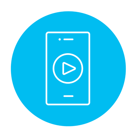 Smartphone with play button on a screen line icon for web, mobile and infographics. Vector white icon on the light blue circle isolated on white background. Illustration