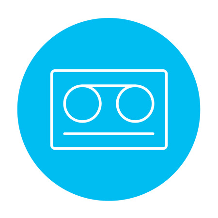 Cassette tape line icon for web, mobile and infographics. Vector white icon on the light blue circle isolated on white background.
