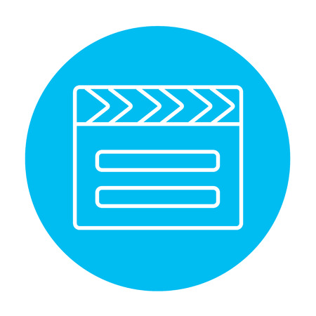 flick: Clapboard line icon for web, mobile and infographics. Vector white icon on the light blue circle isolated on white background.
