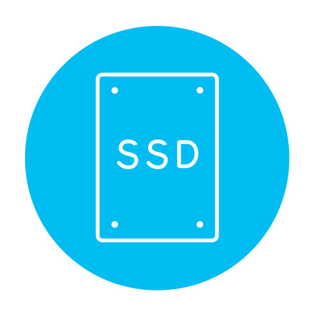 solid blue background: Solid state drive line icon for web, mobile and infographics. Vector white icon on the light blue circle isolated on white background.