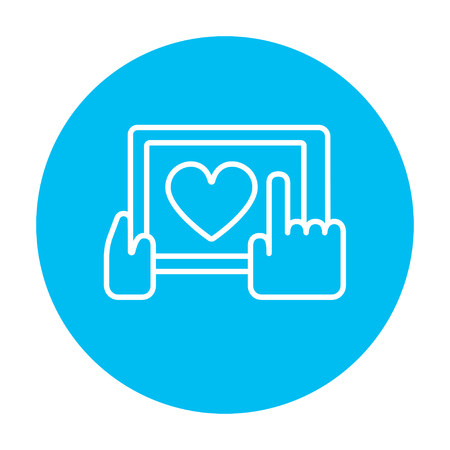 Smartphone with heart sign line icon for web, mobile and infographics. Vector white icon on the light blue circle isolated on white background.