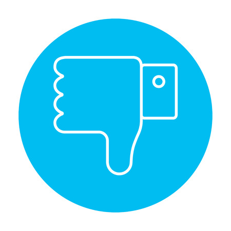 disapprove: Thumb down hand sign line icon for web, mobile and infographics. Vector white icon on the light blue circle isolated on white background. Illustration