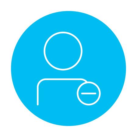 Perfil de usuario con el icono de línea signo menos para web, móvil y la infografía. Vector icono de blanco en el círculo azul de luz aislados sobre fondo blanco. Foto de archivo - 49884662