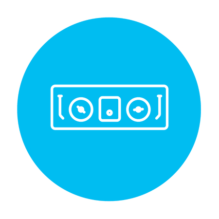 remix: DJ console line icon for web, mobile and infographics. Vector white icon on the light blue circle isolated on white background. Illustration