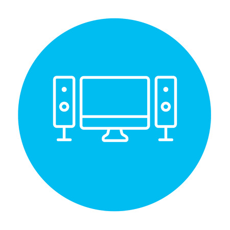 home cinema: Home cinema system line icon for web, mobile and infographics. Vector white icon on the light blue circle isolated on white background.